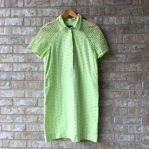 J CREW Eyelet Shirt Dress Button Lime Green Size 4